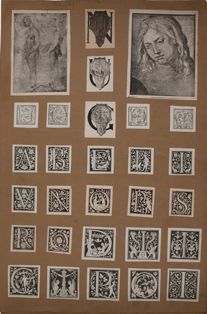 Page of Boccioni's 'Memory Album' with cut-outs of woodcut initials