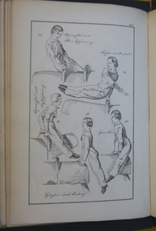 Examples of 19th-century pommel horse exercises