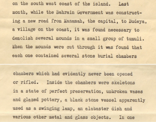 Extract from a note on antiquities at Bahrain by Charles Belgrave, 1937
