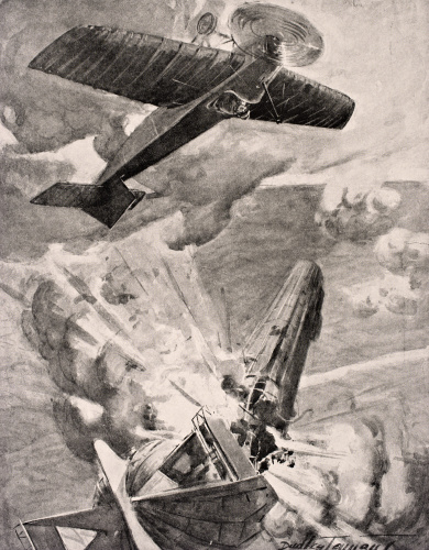 Flight Sub-Lieutenant Reginald Alexander John Warneford VC (1891-1915) bombs and destroys a Zeppelin airship 1915