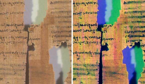 A side-by-side of two imaging processes; on the right you can see streaks of different colours.