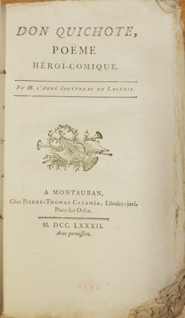 Title-page of Don Quichote. Poëme héroï-comique