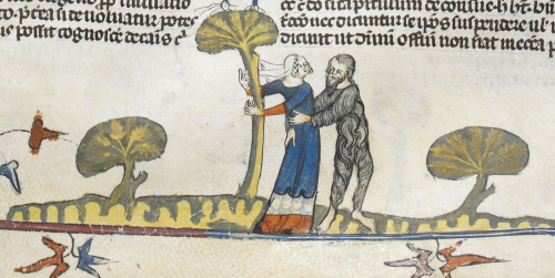 A marginal illustration of a wodewose wooing a woman, from the Smithfield Decretals.