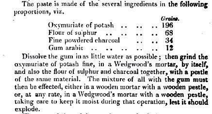 Recipe for percussion powder