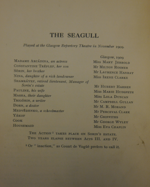 Cast list for the first British production of 'The Seagull'