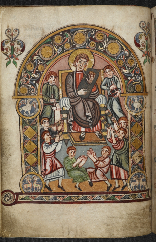 A page from the Vespasian Psalter, showing an illustration of King David with his musicians.