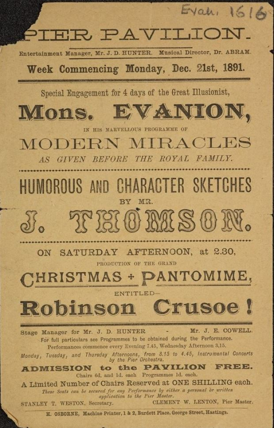 Notice for Evanion's entertainment at the Pier Pavilion, Hastings