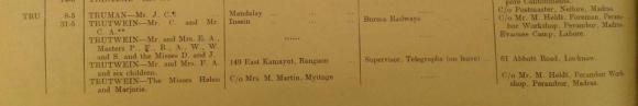 Document reading - TRUTWEIN Mr and Mrs F.A. and six children 149 East Kamayut, Rangoon Supervisor, Telegraphs (on leave) 61 Abbott Road, Lucknow