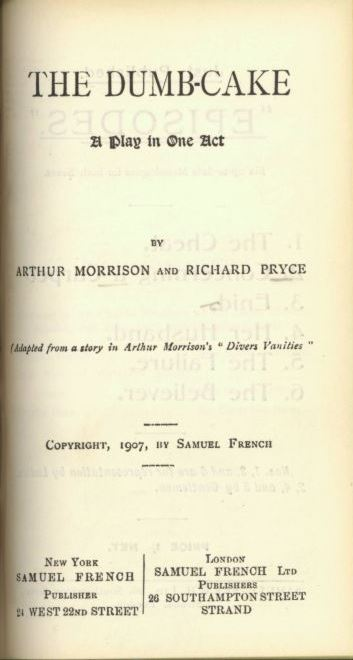 Title page of The Dumb-Cake  - A play in one act