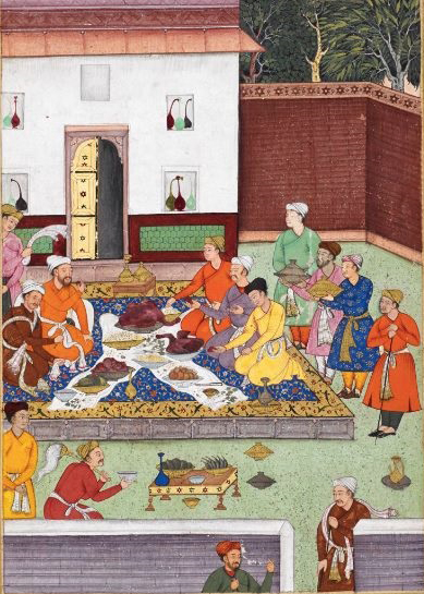 A banquet including a roasted goose given to Babur by a Timurid mirza. Artist: Tiriyya (1507). British Library, Or. 3714, f. 260v (detail).