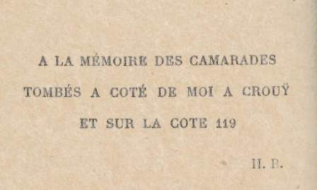 Barbusse's dedication of 'Le feu' to his fallen comrades