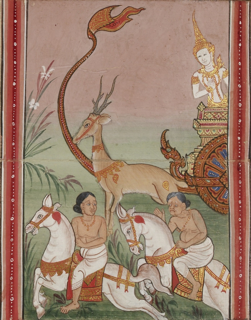 Scene from the Vessantara Jataka showing a marvellous deer with gold decorations replacing the horses that Vessantara, standing on the carriage, had given away. From a 19th century Thai folding book containing extracts from the Tipitaka. British Library,Or 16552, f.26