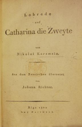 Title-page of 'Lobrede auf Catharina die Zweyte'
