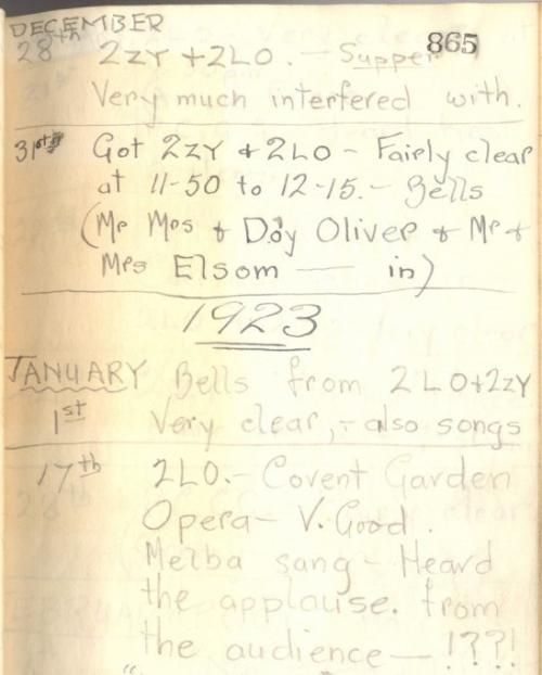 Alfred Taylor Radio Listening Log 1 Jan 1923