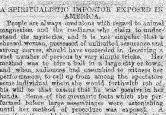 Newspaper story about Annie de Montford being exposed in America as an imposter.