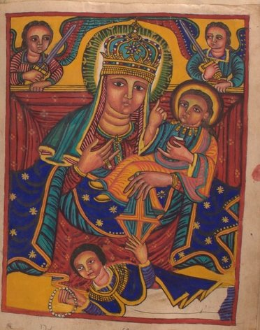 Ethiopic illustration depicting Madonna and Child