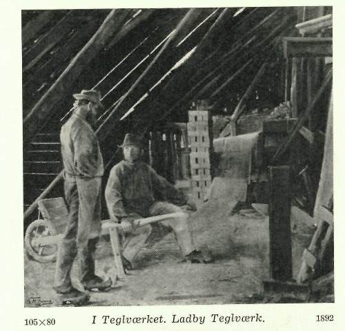 Illustration of two workers in the Ladby Tile factory