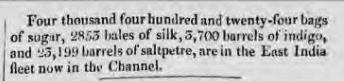 Cargo report in Liverpool Mercury 17 June 1814