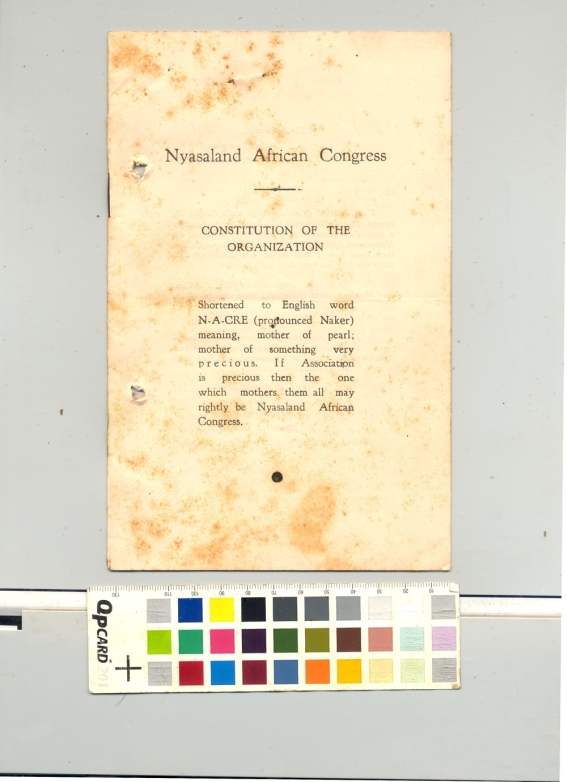 Front cover of the NAC constitution