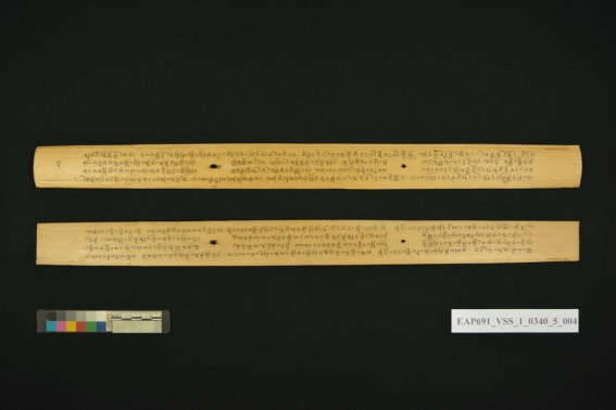 Two long palm leaf manuscripts.