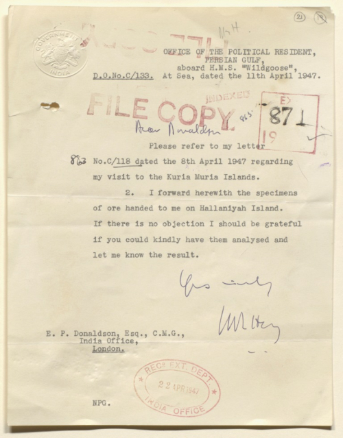 Letter from the Political Resident in the Persian Gulf to the India Office