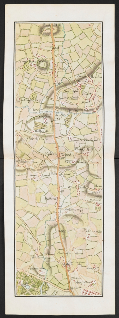Maps and views blog modern history anonymous after mary ann rocque a map showing part of the road from london to luton park london 1767 add ms74215 sciox Image collections