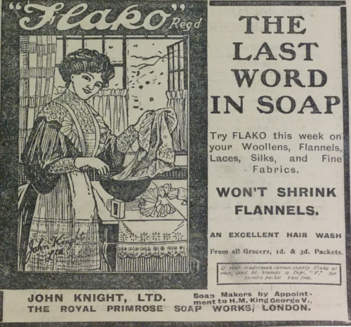 Flako soap advert 07 July 1911