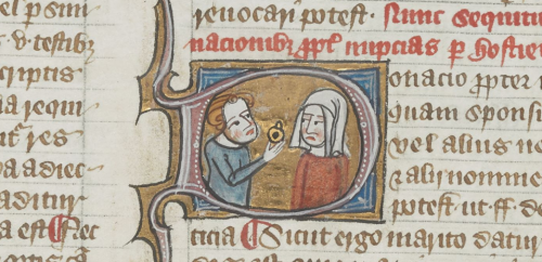 A detail from a manuscript of the Omne Bonum, showing an illustration of a bride receiving a gift.