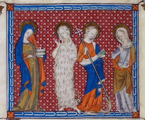 A detail from the Queen Mary Psalter, showing an illustration of Mary Magdalene, Mary of Egypt, St Margaret and a martyr.