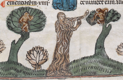 A detail from the Smithfield Decretals, showing a marginal illustration of Mary of Egypt in the wilderness.
