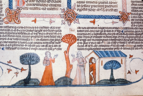 A detail from the Smithfield Decretals, showing a marginal illustration of Mary of Egypt heading into the wilderness.