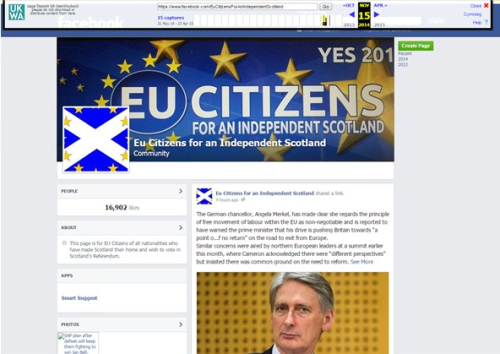 4. EU Citizens for an Independent Scotland Facebook