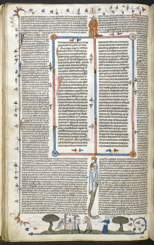 A page from the Smithfield Decretals, showing marginal illustrations and grotesques.