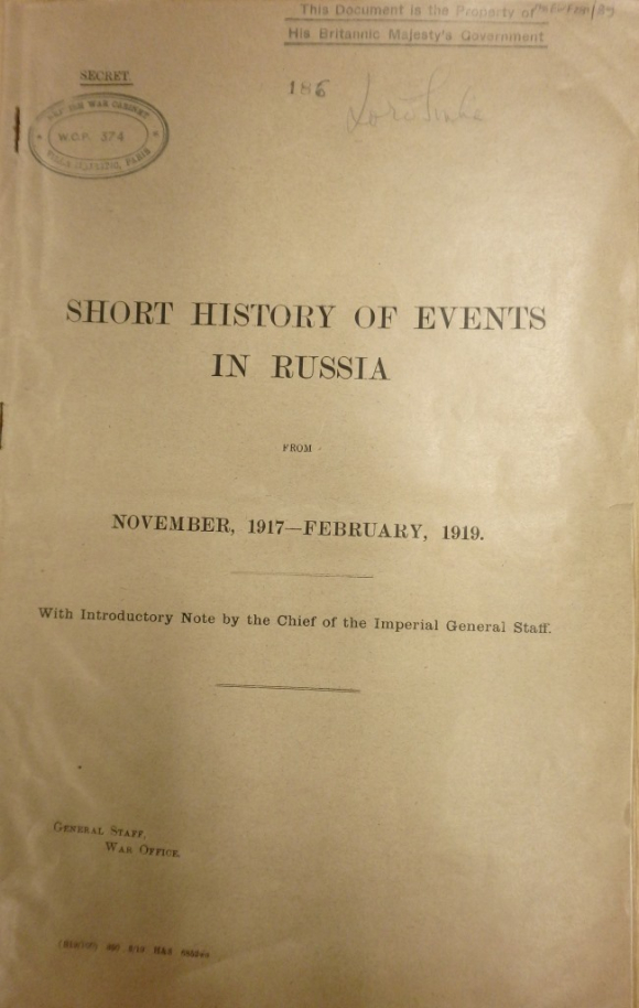 Short History of Events in Russia Nov 1917-Feb 1919