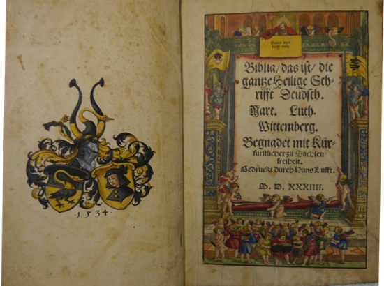 1534 Bible tp and coat of arms