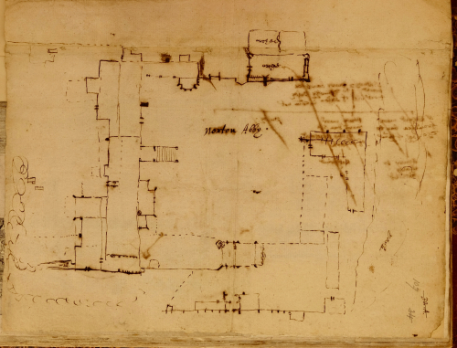 Plan of Norton Priory by Randle Holme: Harley MS 2073, f. 107r.