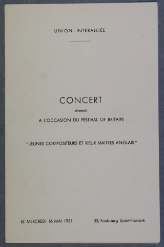 Cover of the programme for a concert at the Cercle de l'Union Interallié 1951