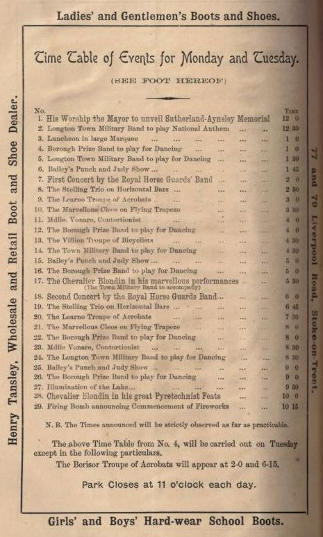 Timetable of events for fetes at Longton 6 and 7 June 1892