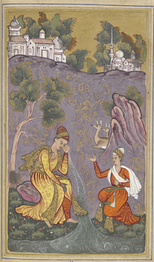Convinced that Mah Ji is only a reflection of the image in his heart, he weeps a stream a tears (BL Add.16680, f. 90v)