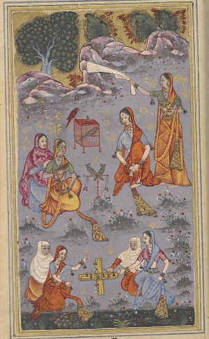 Mah Ji passing time with her companions during her period of separation and longing, playing board games and tending to pet birds (BL Add.16680, f. 135r