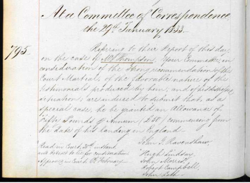 East India Company Committee of Correspondence consideration of John Thompson's case