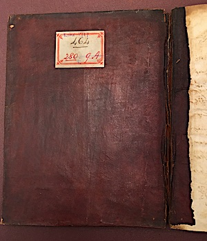 This manuscript is a translation into Persian from Dakhni by Ḥasan ʻAlī ʻIzzat of the love story of Lal and Gohar which was commissioned by Tipu Sultan in 1778. The binding is contemporary and still carries the Prize Agents' label dating from when they were first examining the collection in 1799. (IO Islamic 464)