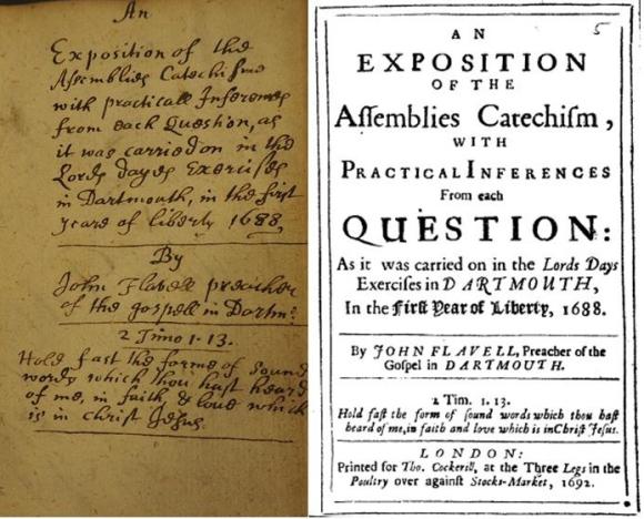 Comparison image showing the manuscript and print title pages