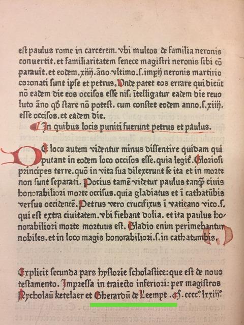 Modus legendi Historia colophon