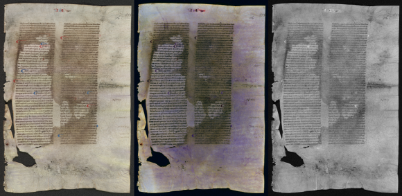 Three images of the same page of parchment, undergoing Multi-spectral analysis. The first image appears normal, while the middle image has a multi-hued purple sheen, while the right hand image is in more greyscale.