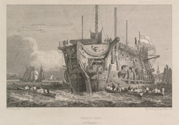 Engraving of the Discovery, a prison hulk moored at Deptford