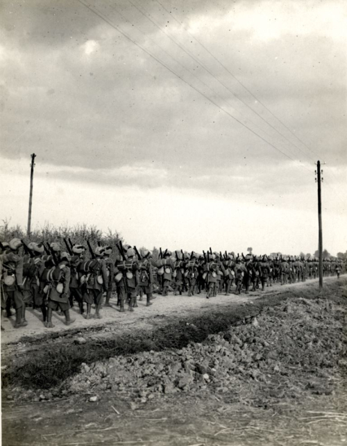 Photograph of A Punjab regiment on the march in Flanders;