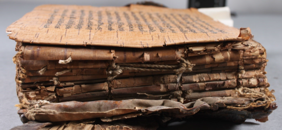 The Manuscript as seen from its side, with the spine facing towards the camera. The text block is exposed and hemp cord can be seen either with the ends peeking through the text block ends or tied in the centre. The text in Śāradā script can be seen on the front page.