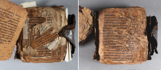 Before and after treatment as shown looking within the manuscript, with the script visible.