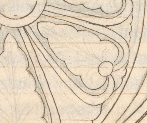 A detail from a medieval manuscript, showing the ruling, under-drawing and ink outline on a page.